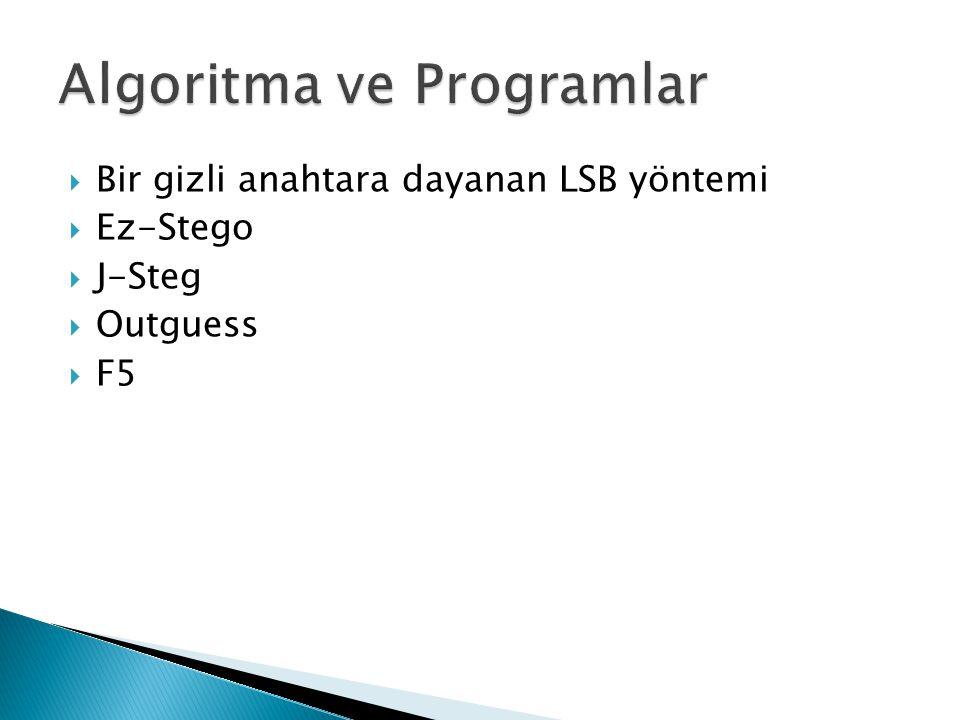  Bir gizli anahtara dayanan LSB yöntemi  Ez-Stego  J-Steg  Outguess  F5