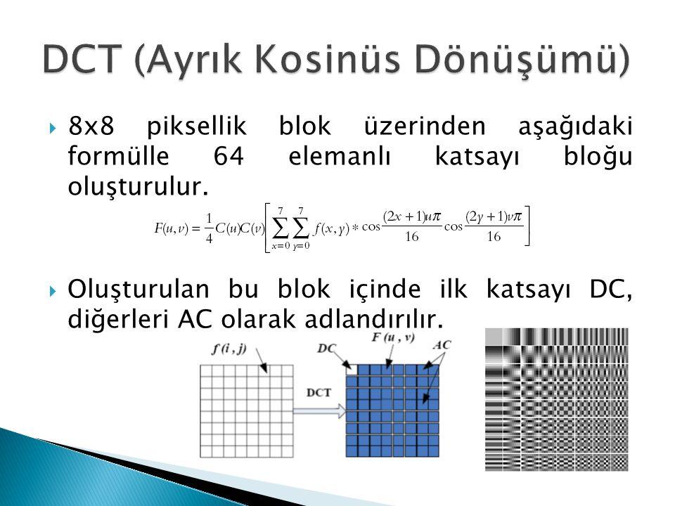  8x8 piksellik blok üzerinden aşağıdaki formülle 64 elemanlı katsayı bloğu oluşturulur.  Oluşturulan bu blok içinde ilk katsayı DC, diğerleri AC ola