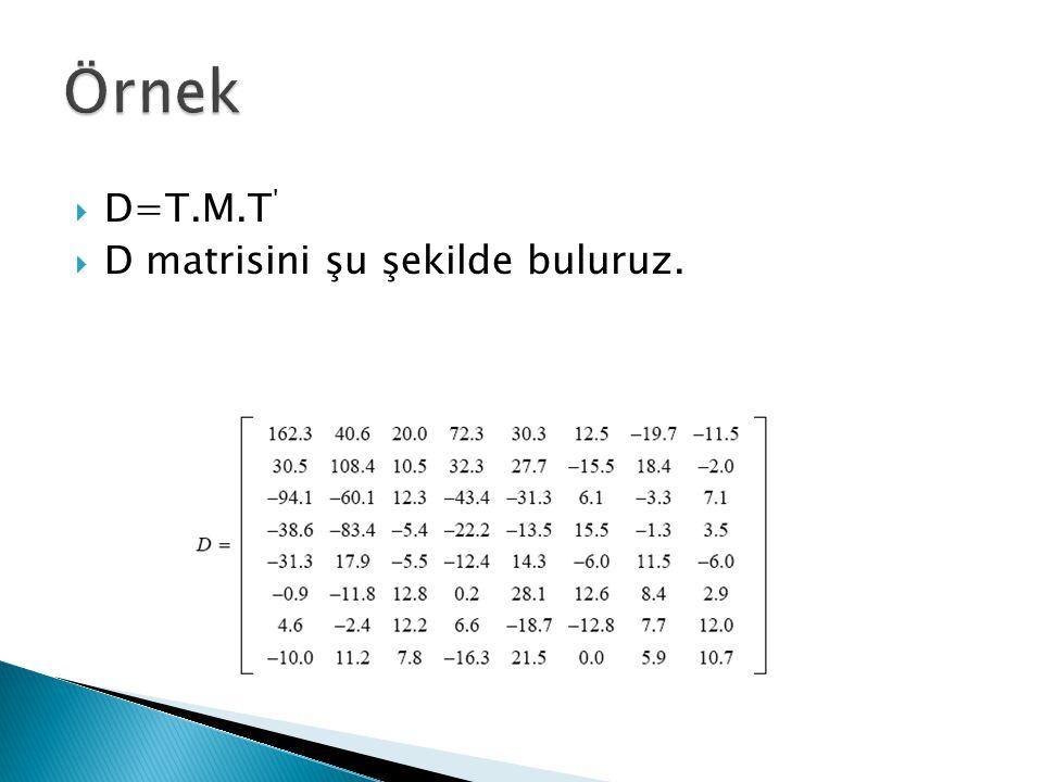  D=T.M.T '  D matrisini şu şekilde buluruz.