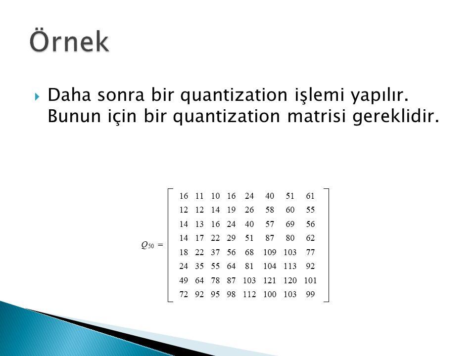  Daha sonra bir quantization işlemi yapılır. Bunun için bir quantization matrisi gereklidir.