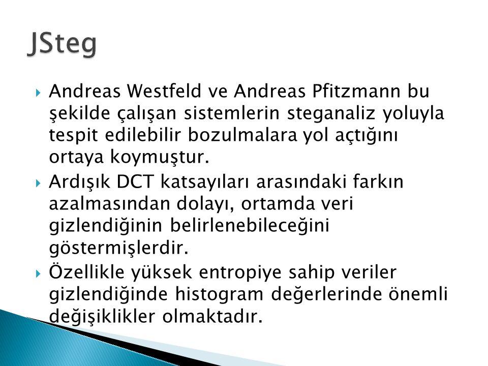  Andreas Westfeld ve Andreas Pfitzmann bu şekilde çalışan sistemlerin steganaliz yoluyla tespit edilebilir bozulmalara yol açtığını ortaya koymuştur.
