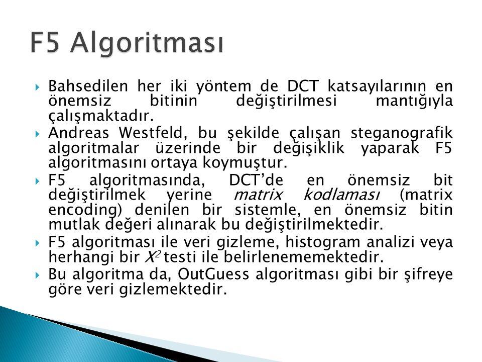  Bahsedilen her iki yöntem de DCT katsayılarının en önemsiz bitinin değiştirilmesi mantığıyla çalışmaktadır.  Andreas Westfeld, bu şekilde çalışan s