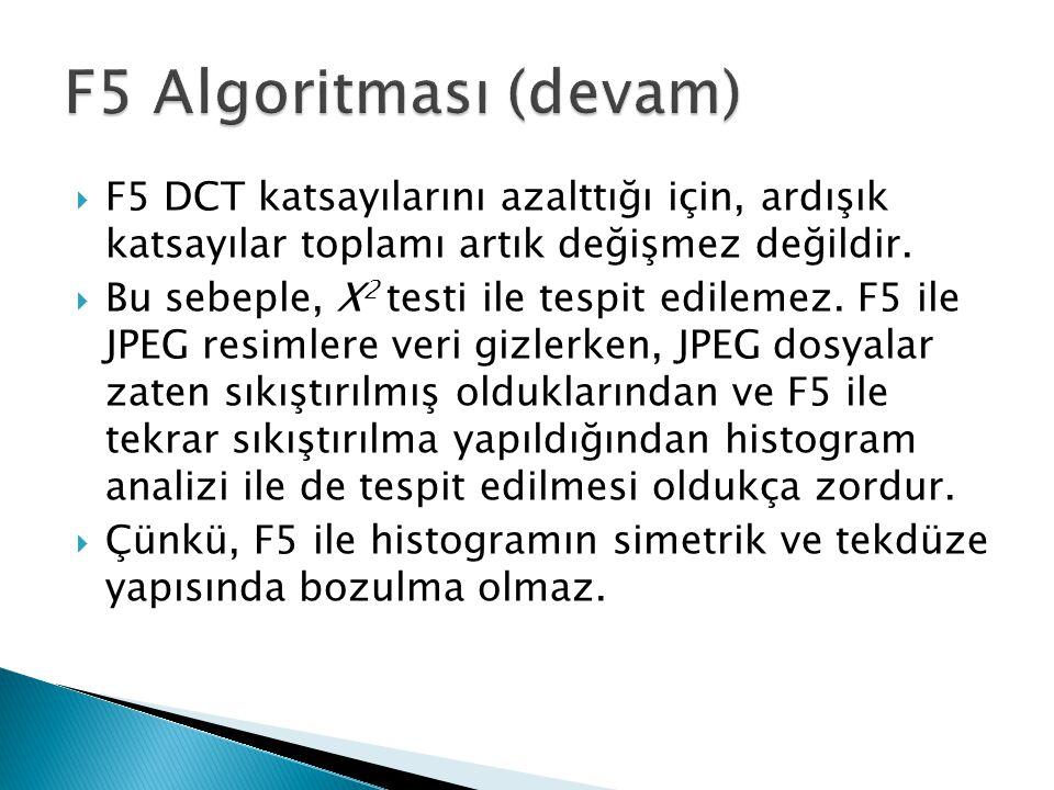  F5 DCT katsayılarını azalttığı için, ardışık katsayılar toplamı artık değişmez değildir.  Bu sebeple, X 2 testi ile tespit edilemez. F5 ile JPEG re