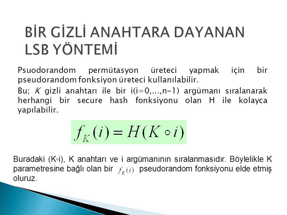 Psuodorandom permütasyon üreteci yapmak için bir pseudorandom fonksiyon üreteci kullanılabilir. Bu; K gizli anahtarı ile bir i(i=0,...,n-1) argümanı s