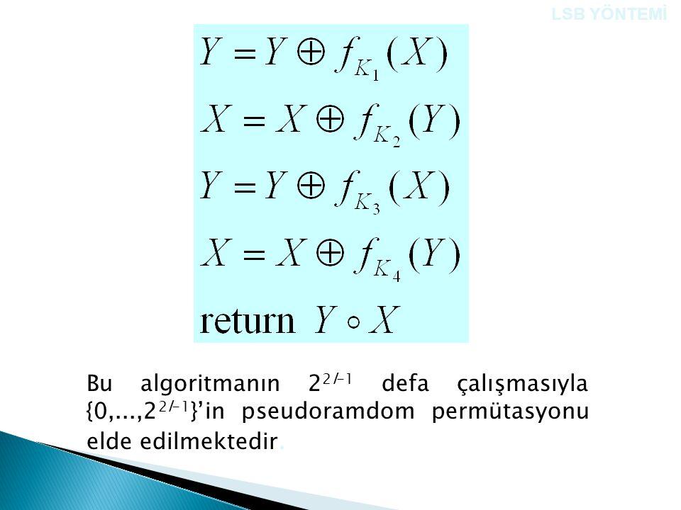 Bu algoritmanın 2 2l-1 defa çalışmasıyla {0,...,2 2l-1 }'in pseudoramdom permütasyonu elde edilmektedir. LSB YÖNTEMİ