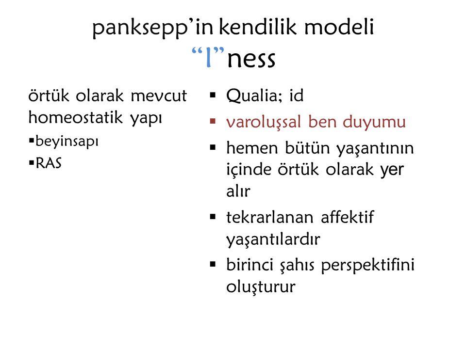 """panksepp'in kendilik modeli """"I""""ness örtük olarak mevcut homeostatik yapı  beyinsapı  RAS  Qualia; id  varoluşsal ben duyumu  hemen bütün yaşantın"""