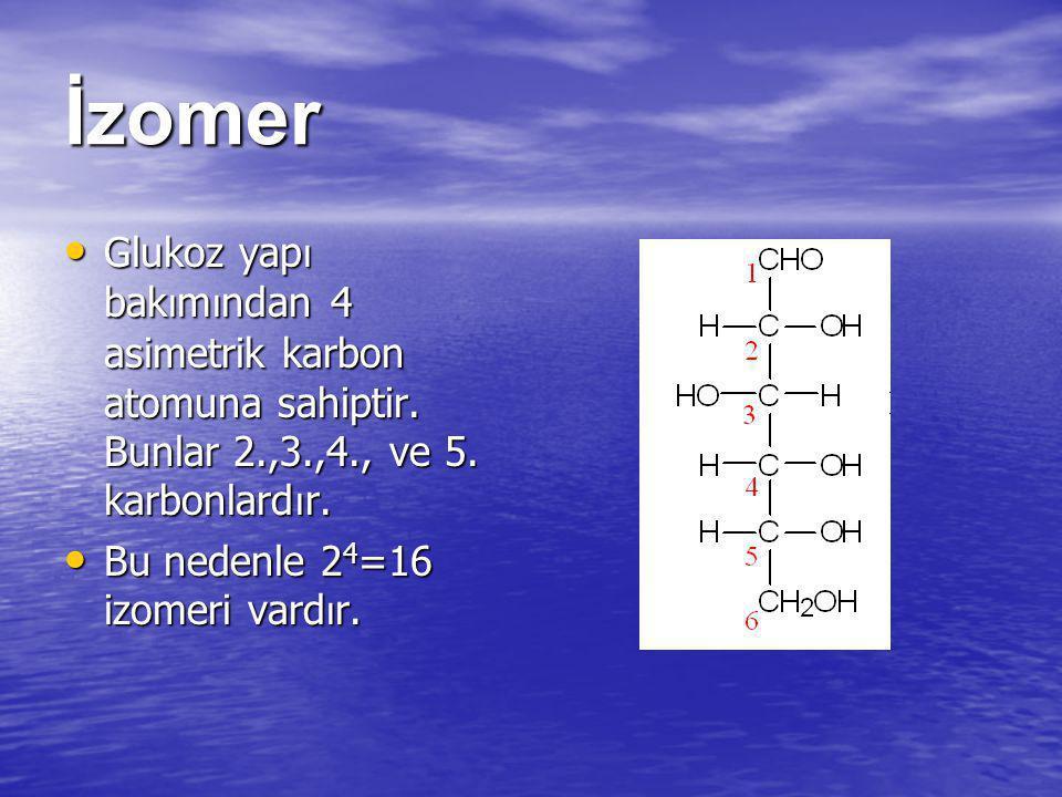 İzomer Glukoz yap ı bak ı m ı ndan 4 asimetrik karbon atomuna sahiptir. Bunlar 2.,3.,4., ve 5. karbonlard ı r. Glukoz yap ı bak ı m ı ndan 4 asimetrik
