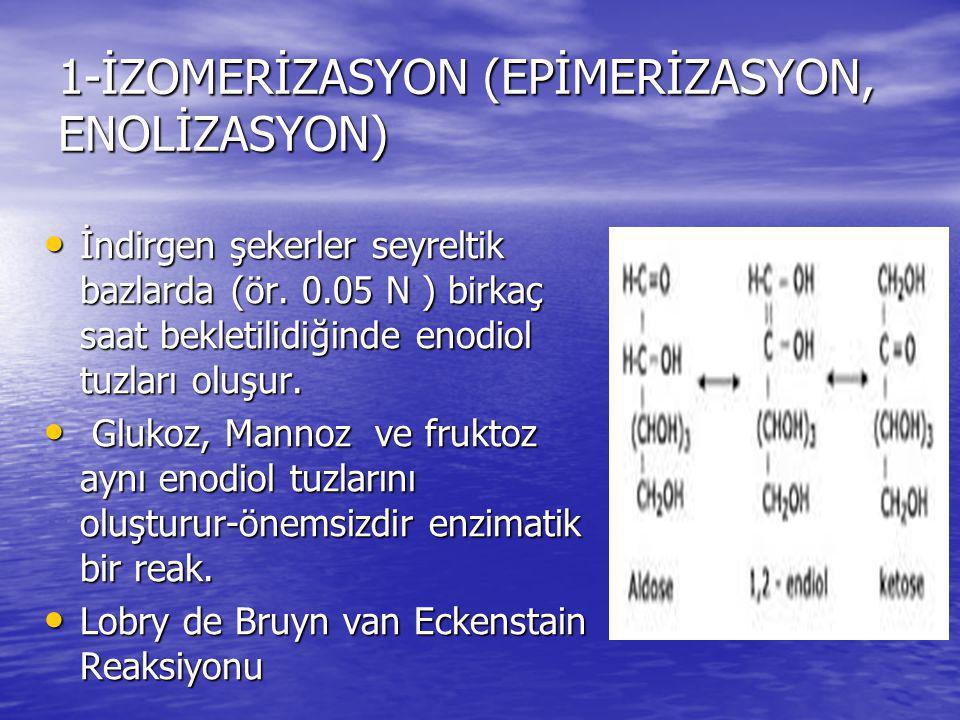 1-İZOMERİZASYON (EPİMERİZASYON, ENOLİZASYON) İndirgen şekerler seyreltik bazlarda (ör. 0.05 N ) birkaç saat bekletilidiğinde enodiol tuzları oluşur. İ