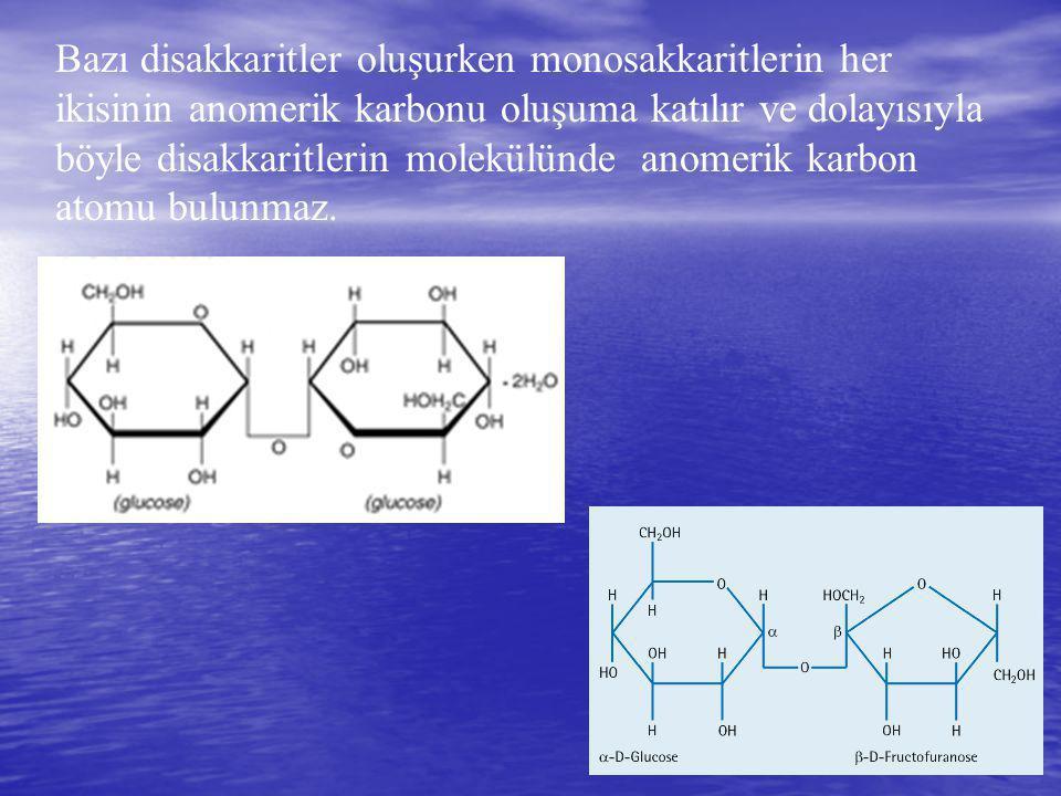 Bazı disakkaritler oluşurken monosakkaritlerin her ikisinin anomerik karbonu oluşuma katılır ve dolayısıyla böyle disakkaritlerin molekülünde anomerik