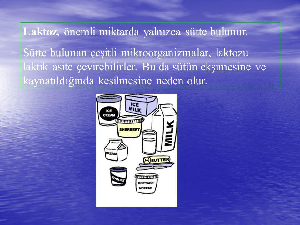 Laktoz, önemli miktarda yalnızca sütte bulunur. Sütte bulunan çeşitli mikroorganizmalar, laktozu laktik asite çevirebilirler. Bu da sütün ekşimesine v