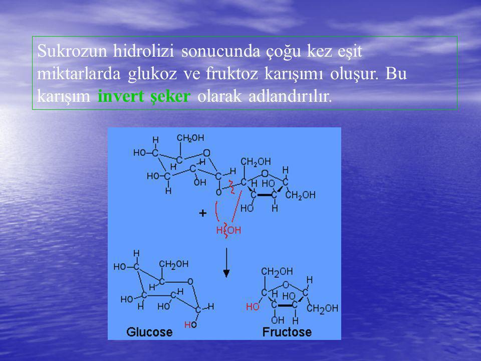 Sukrozun hidrolizi sonucunda çoğu kez eşit miktarlarda glukoz ve fruktoz karışımı oluşur. Bu karışım invert şeker olarak adlandırılır.