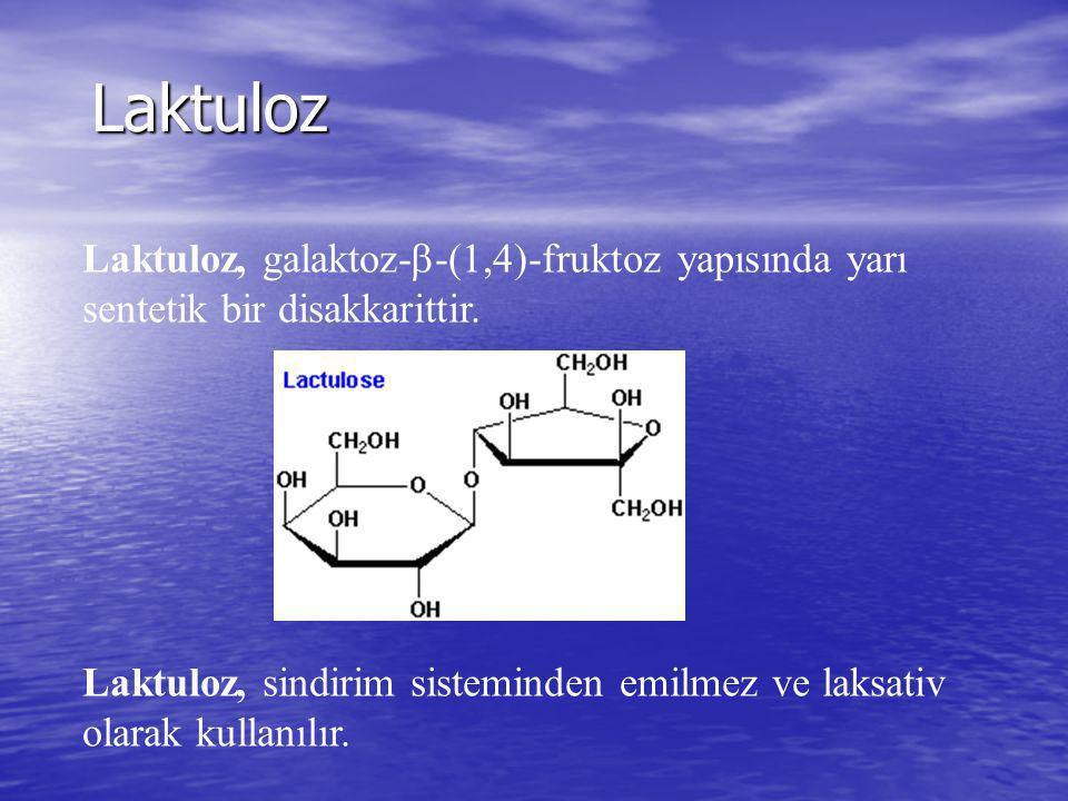 Laktuloz Laktuloz, galaktoz-  -(1,4)-fruktoz yapısında yarı sentetik bir disakkarittir. Laktuloz, sindirim sisteminden emilmez ve laksativ olarak kul