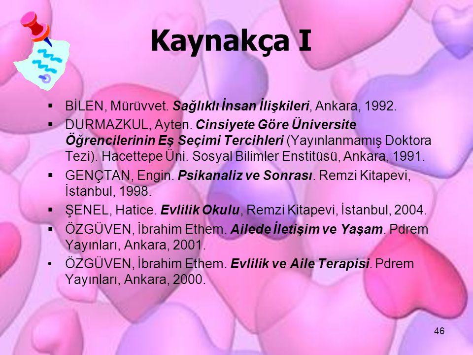 46 Kaynakça I  BİLEN, Mürüvvet. Sağlıklı İnsan İlişkileri, Ankara, 1992.  DURMAZKUL, Ayten. Cinsiyete Göre Üniversite Öğrencilerinin Eş Seçimi Terci