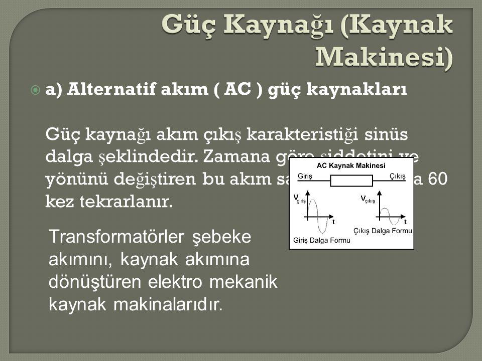  a) Alternatif akım ( AC ) güç kaynakları Güç kayna ğ ı akım çıkı ş karakteristi ğ i sinüs dalga ş eklindedir. Zamana göre ş iddetini ve yönünü de ğ