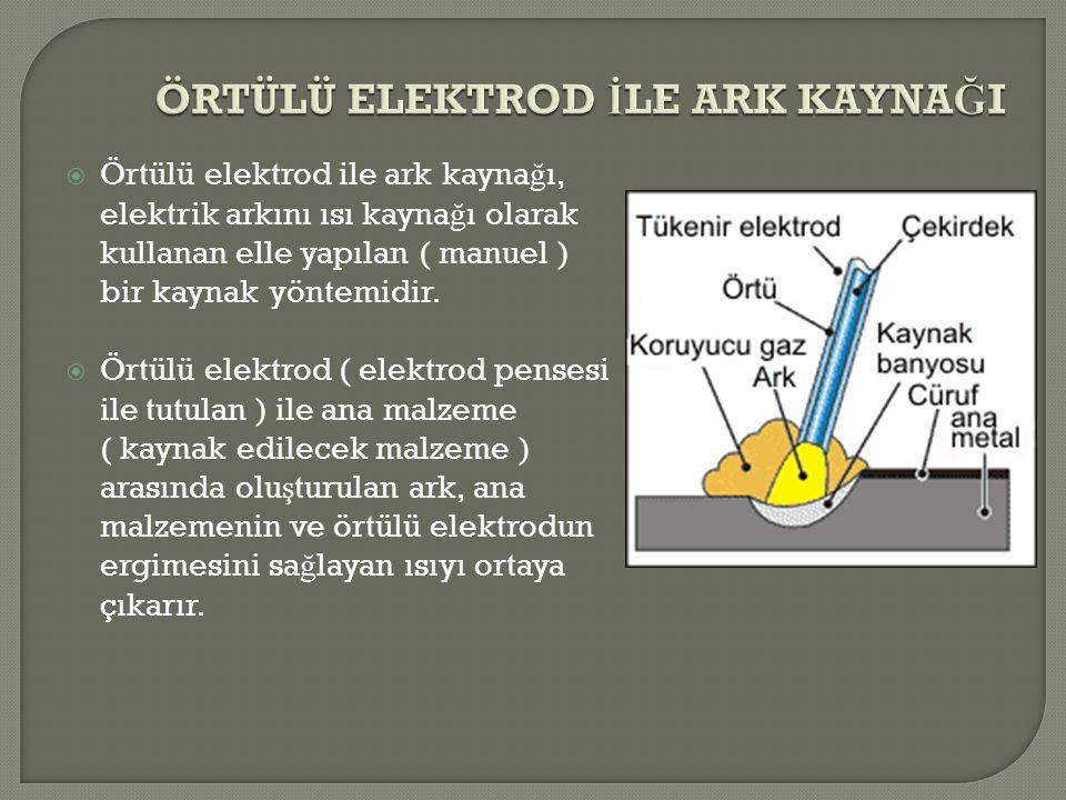  Örtülü elektrod ile ark kayna ğ ı, elektrik arkını ısı kayna ğ ı olarak kullanan elle yapılan ( manuel ) bir kaynak yöntemidir.  Örtülü elektrod (