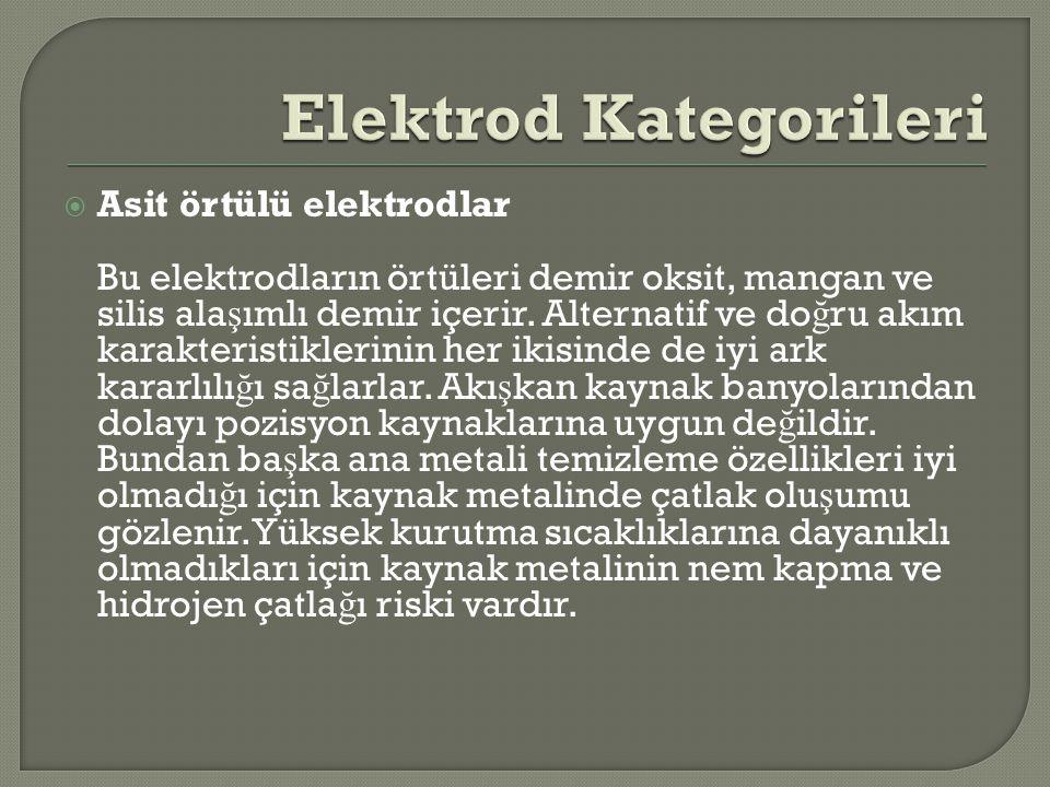  Asit örtülü elektrodlar Bu elektrodların örtüleri demir oksit, mangan ve silis ala ş ımlı demir içerir. Alternatif ve do ğ ru akım karakteristikleri
