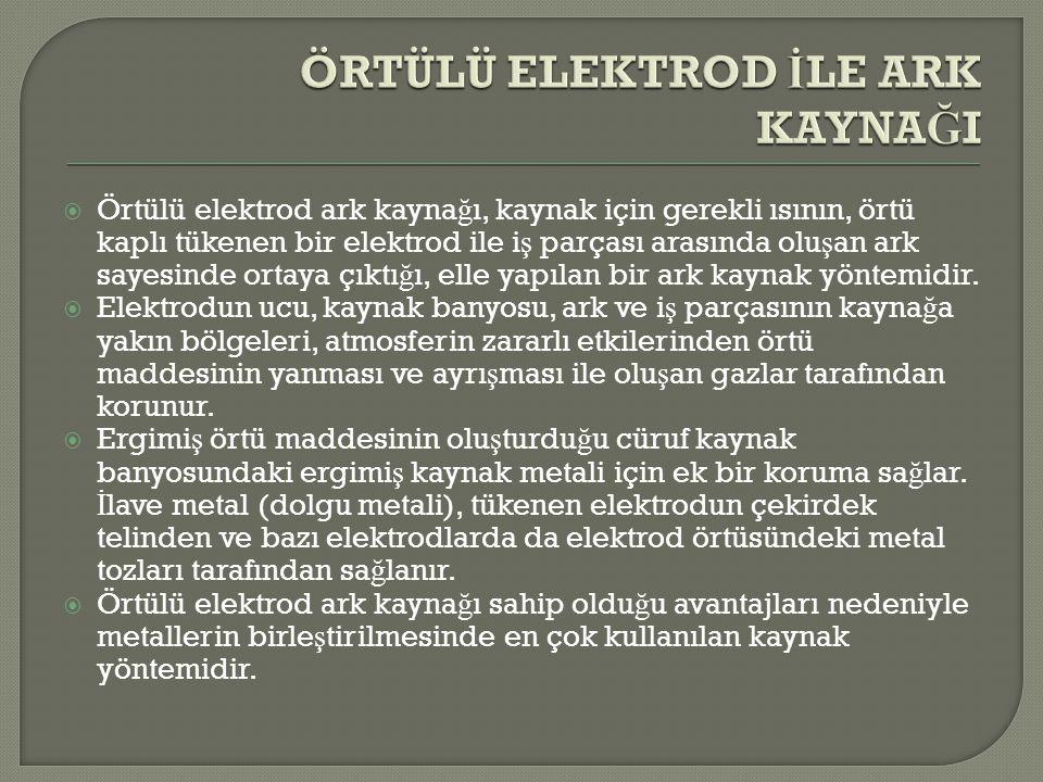  Örtülü elektrod ark kayna ğ ı, kaynak için gerekli ısının, örtü kaplı tükenen bir elektrod ile i ş parçası arasında olu ş an ark sayesinde ortaya çı