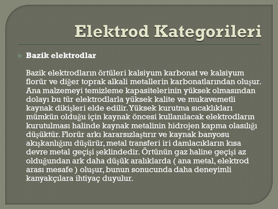  Bazik elektrodlar Bazik elektrodların örtüleri kalsiyum karbonat ve kalsiyum florür ve di ğ er toprak alkali metallerin karbonatlarından olu ş ur. A