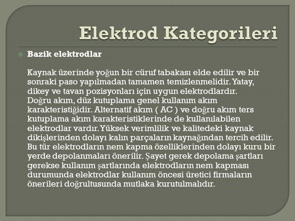  Bazik elektrodlar Kaynak üzerinde yo ğ un bir cüruf tabakası elde edilir ve bir sonraki paso yapılmadan tamamen temizlenmelidir. Yatay, dikey ve tav