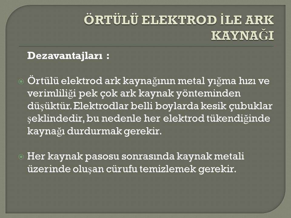 Dezavantajları :  Örtülü elektrod ark kayna ğ ının metal yı ğ ma hızı ve verimlili ğ i pek çok ark kaynak yönteminden dü ş üktür. Elektrodlar belli b