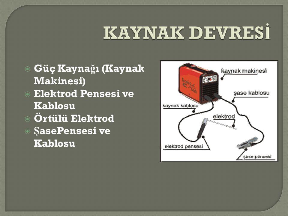  Güç Kayna ğ ı (Kaynak Makinesi)  Elektrod Pensesi ve Kablosu  Örtülü Elektrod  Ş asePensesi ve Kablosu