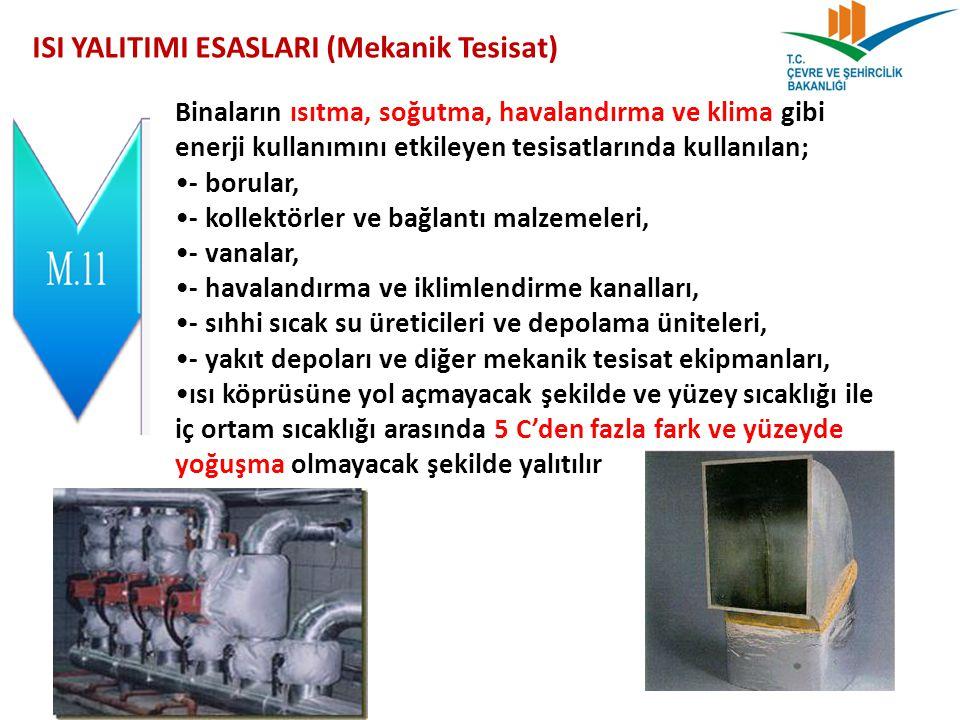 ISI YALITIMI ESASLARI (Mekanik Tesisat) Binaların ısıtma, soğutma, havalandırma ve klima gibi enerji kullanımını etkileyen tesisatlarında kullanılan;