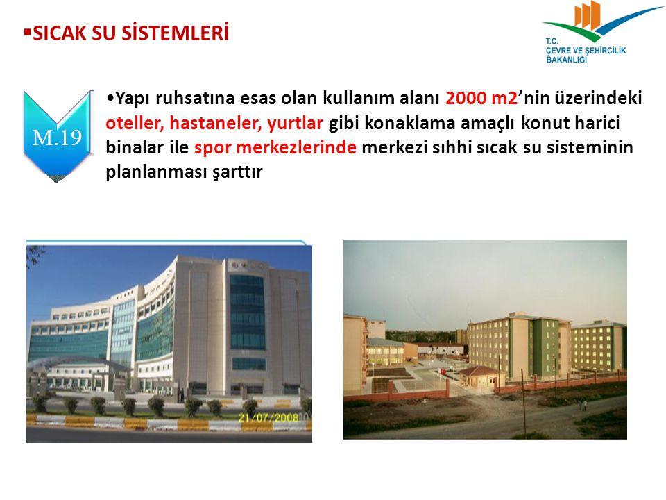  SICAK SU SİSTEMLERİ Yapı ruhsatına esas olan kullanım alanı 2000 m2'nin üzerindeki oteller, hastaneler, yurtlar gibi konaklama amaçlı konut harici b