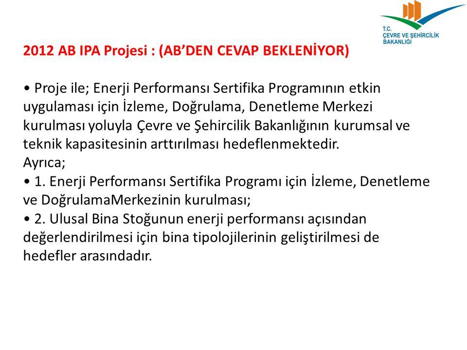 2012 AB IPA Projesi : (AB'DEN CEVAP BEKLENİYOR) Proje ile; Enerji Performansı Sertifika Programının etkin uygulaması için İzleme, Doğrulama, Denetleme