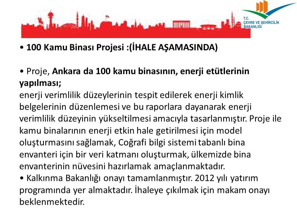 100 Kamu Binası Projesi :(İHALE AŞAMASINDA) Proje, Ankara da 100 kamu binasının, enerji etütlerinin yapılması; enerji verimlilik düzeylerinin tespit e