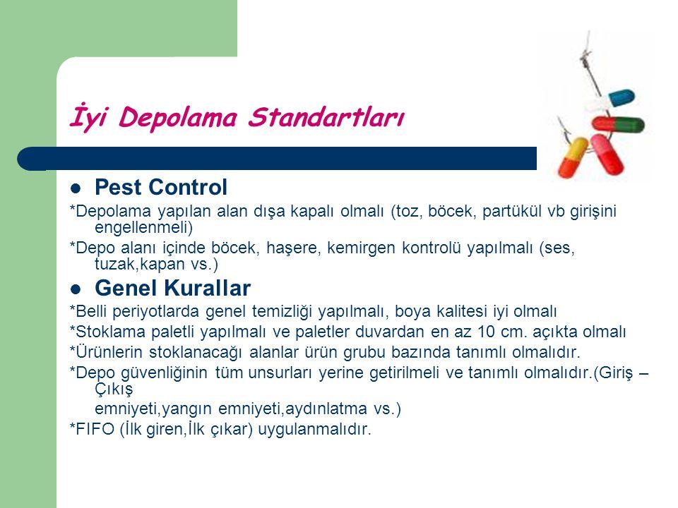 İyi Depolama Standartları Pest Control *Depolama yapılan alan dışa kapalı olmalı (toz, böcek, partükül vb girişini engellenmeli) *Depo alanı içinde bö