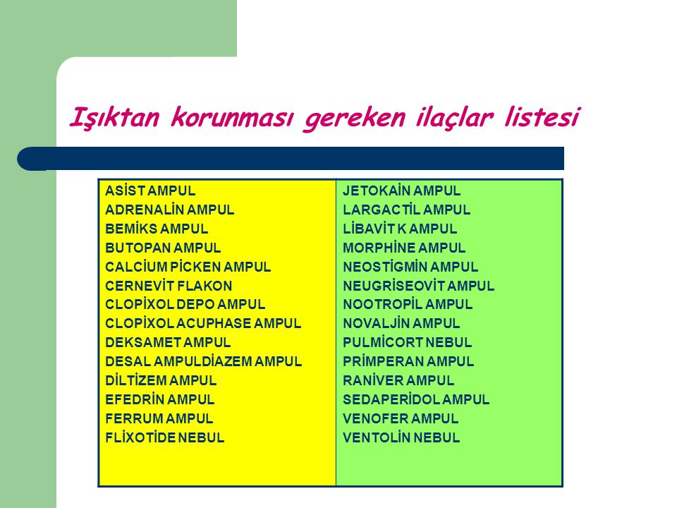 Işıktan korunması gereken ilaçlar listesi ASİST AMPUL ADRENALİN AMPUL BEMİKS AMPUL BUTOPAN AMPUL CALCİUM PİCKEN AMPUL CERNEVİT FLAKON CLOPİXOL DEPO AM