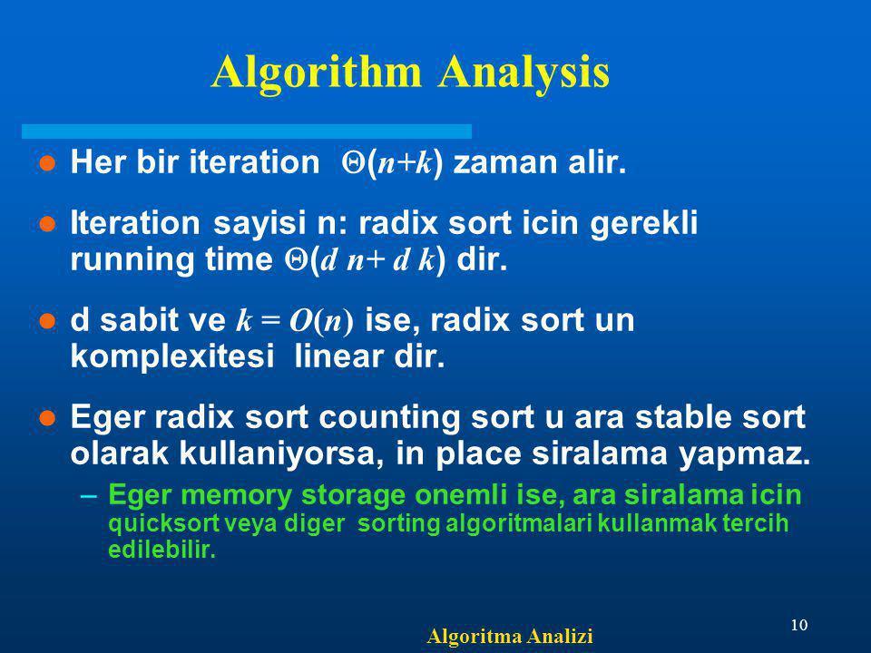 Algoritma Analizi 10 Algorithm Analysis Her bir iteration  ( n+k ) zaman alir. Iteration sayisi n: radix sort icin gerekli running time  ( d n+ d k