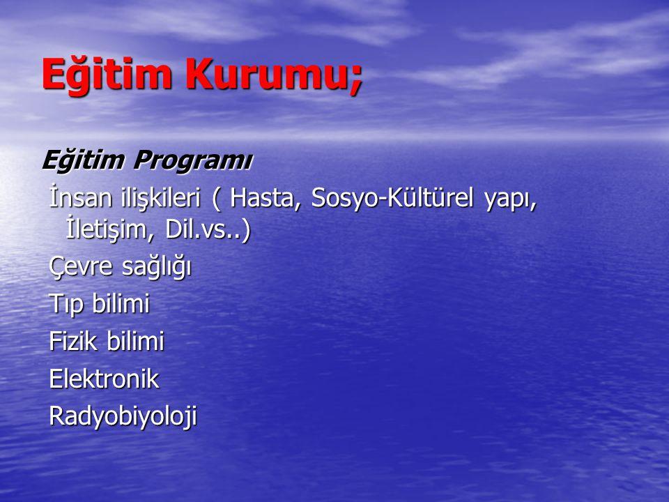 Eğitim Kurumu; Eğitim Programı İnsan ilişkileri ( Hasta, Sosyo-Kültürel yapı, İletişim, Dil.vs..) İnsan ilişkileri ( Hasta, Sosyo-Kültürel yapı, İleti