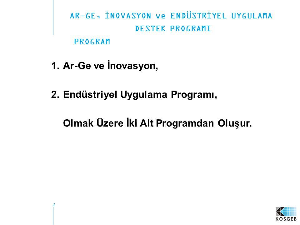 22 1.Ar-Ge ve İnovasyon, 2.Endüstriyel Uygulama Programı, Olmak Üzere İki Alt Programdan Oluşur. AR-GE, İNOVASYON ve ENDÜSTRİYEL UYGULAMA DESTEK PROGR