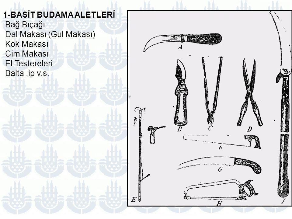 1-BASİT BUDAMA ALETLERİ Bağ Bıçağı Dal Makası (Gül Makası) Kok Makası Cim Makası El Testereleri Balta,ip v.s.
