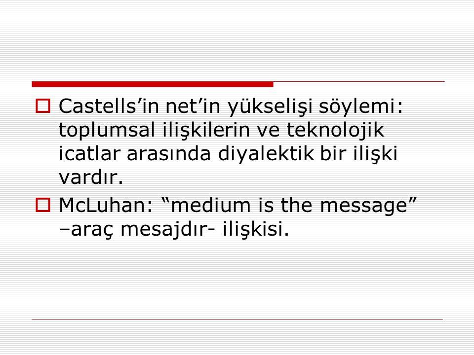 """ Castells'in net'in yükselişi söylemi: toplumsal ilişkilerin ve teknolojik icatlar arasında diyalektik bir ilişki vardır.  McLuhan: """"medium is the m"""