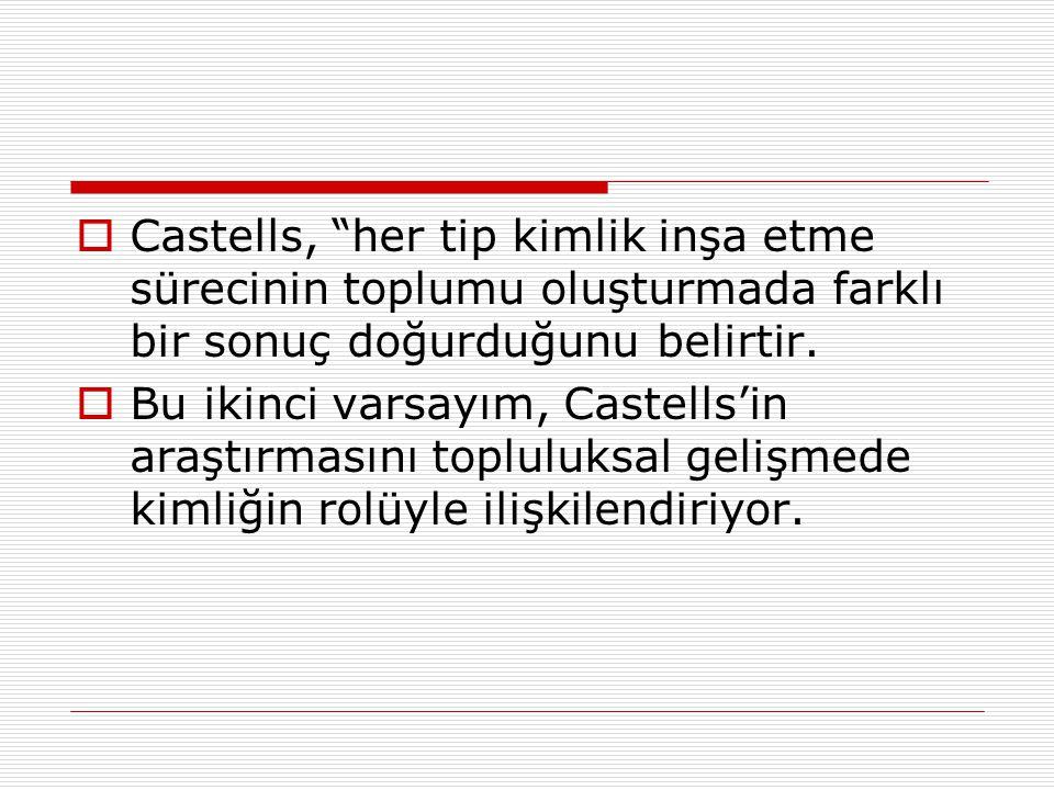 """ Castells, """"her tip kimlik inşa etme sürecinin toplumu oluşturmada farklı bir sonuç doğurduğunu belirtir.  Bu ikinci varsayım, Castells'in araştırma"""