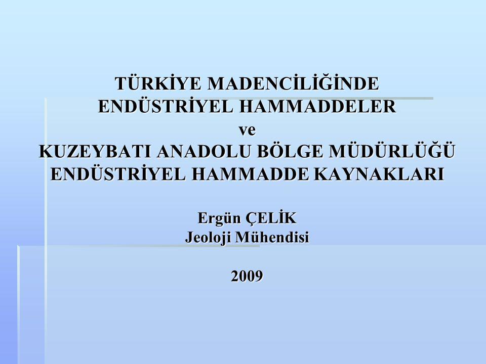  Yıllarca Türkiye'de madencilik denilince akla ilk gelen Bor mineralleri olmuştur.