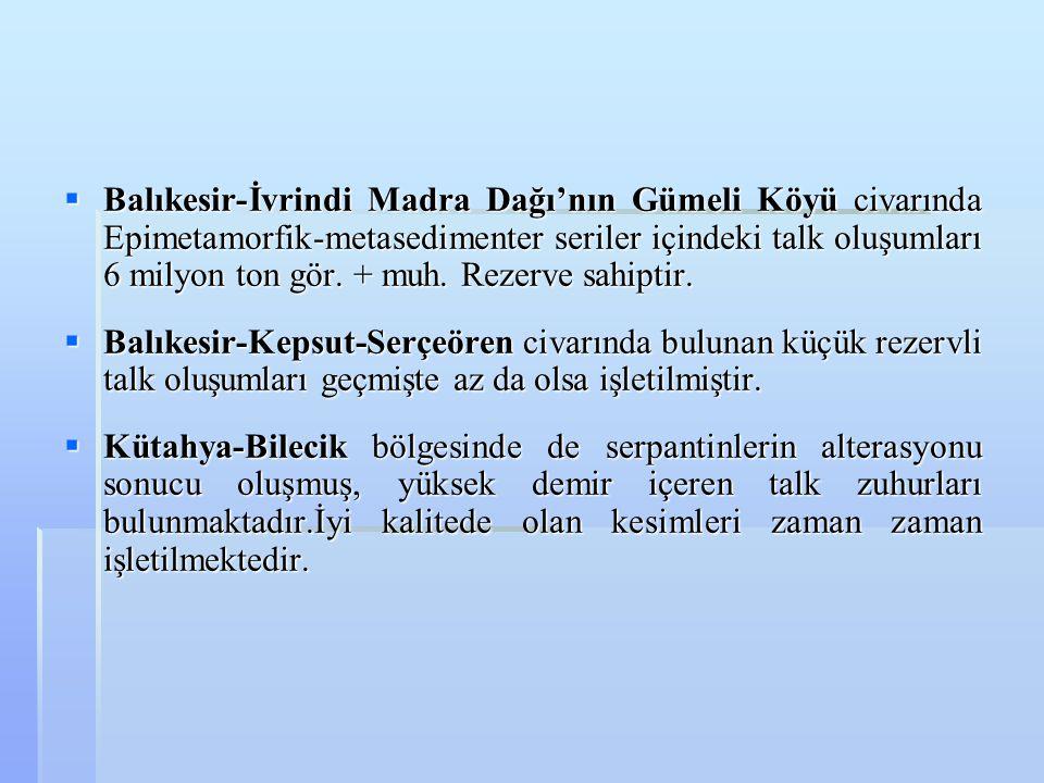  Balıkesir-İvrindi Madra Dağı'nın Gümeli Köyü civarında Epimetamorfik-metasedimenter seriler içindeki talk oluşumları 6 milyon ton gör. + muh. Rezerv