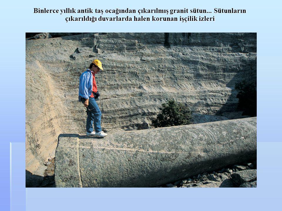 Binlerce yıllık antik taş ocağından çıkarılmış granit sütun... Sütunların çıkarıldığı duvarlarda halen korunan işçilik izleri Binlerce yıllık antik ta