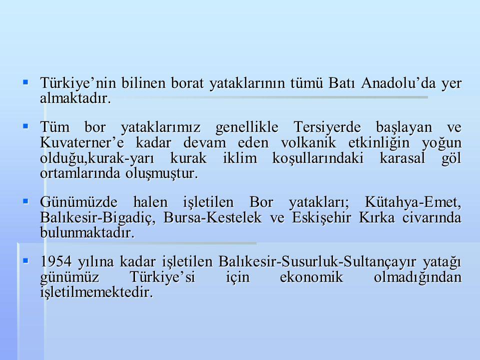  Türkiye'nin bilinen borat yataklarının tümü Batı Anadolu'da yer almaktadır.  Tüm bor yataklarımız genellikle Tersiyerde başlayan ve Kuvaterner'e ka