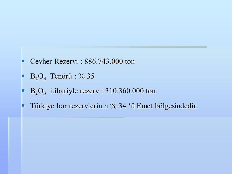  Cevher Rezervi : 886.743.000 ton  B 2 O 3 Tenörü : % 35  B 2 O 3 itibariyle rezerv : 310.360.000 ton.  Türkiye bor rezervlerinin % 34 'ü Emet böl