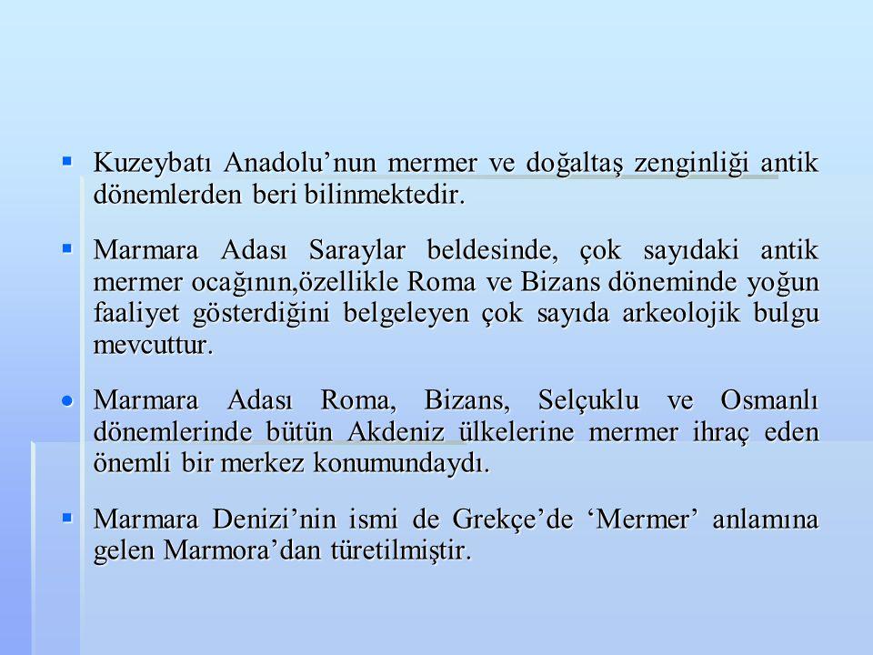  Kuzeybatı Anadolu'nun mermer ve doğaltaş zenginliği antik dönemlerden beri bilinmektedir.  Marmara Adası Saraylar beldesinde, çok sayıdaki antik me