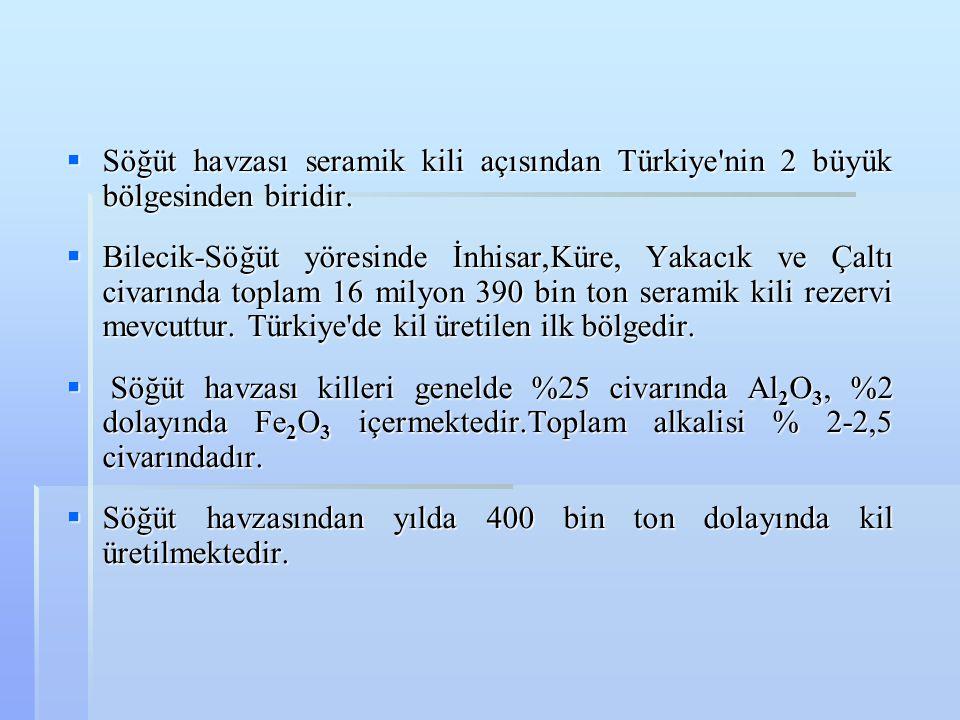  Söğüt havzası seramik kili açısından Türkiye'nin 2 büyük bölgesinden biridir.  Bilecik-Söğüt yöresinde İnhisar,Küre, Yakacık ve Çaltı civarında top