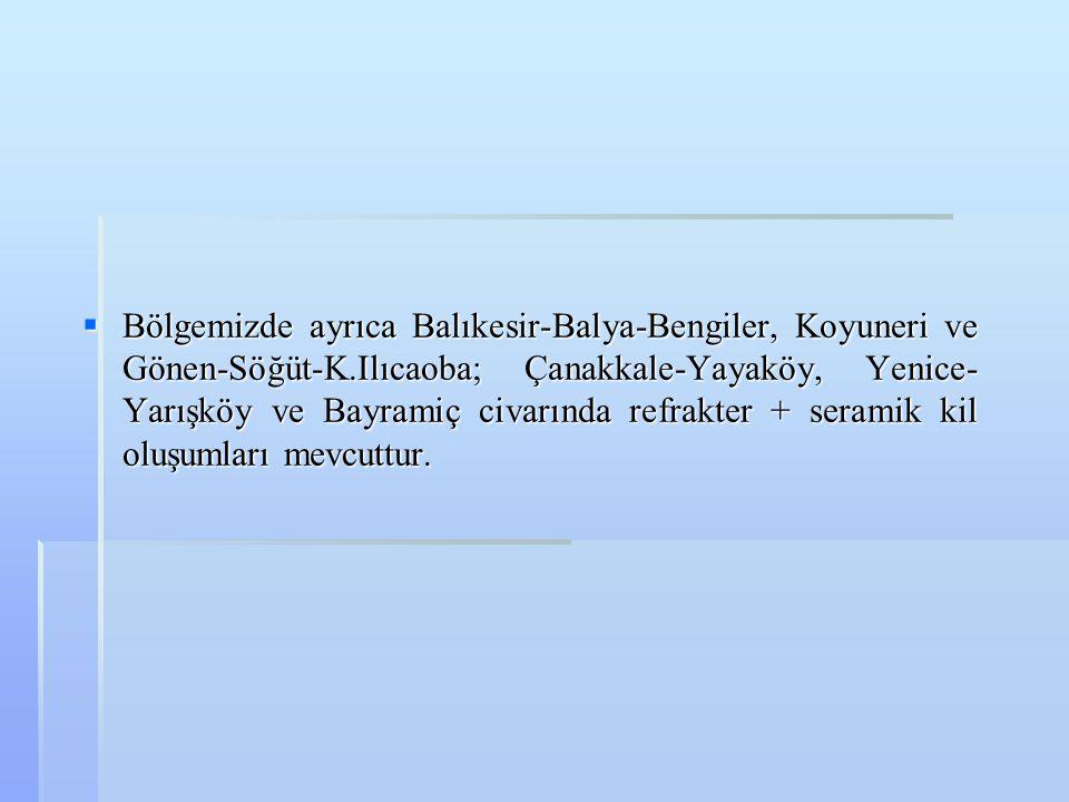  Bölgemizde ayrıca Balıkesir-Balya-Bengiler, Koyuneri ve Gönen-Söğüt-K.Ilıcaoba; Çanakkale-Yayaköy, Yenice- Yarışköy ve Bayramiç civarında refrakter