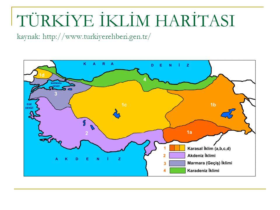 TÜRKİYE İKLİM HARİTASI kaynak: http://www.turkiyerehberi.gen.tr/