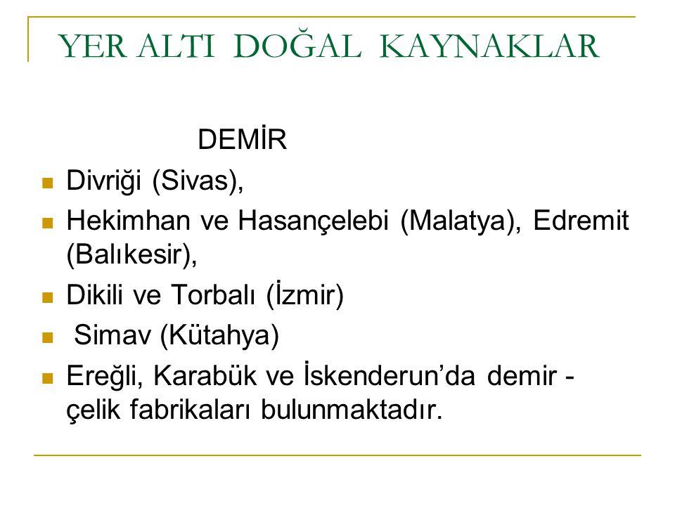 YER ALTI DOĞAL KAYNAKLAR DEMİR Divriği (Sivas), Hekimhan ve Hasançelebi (Malatya), Edremit (Balıkesir), Dikili ve Torbalı (İzmir) Simav (Kütahya) Ereğ