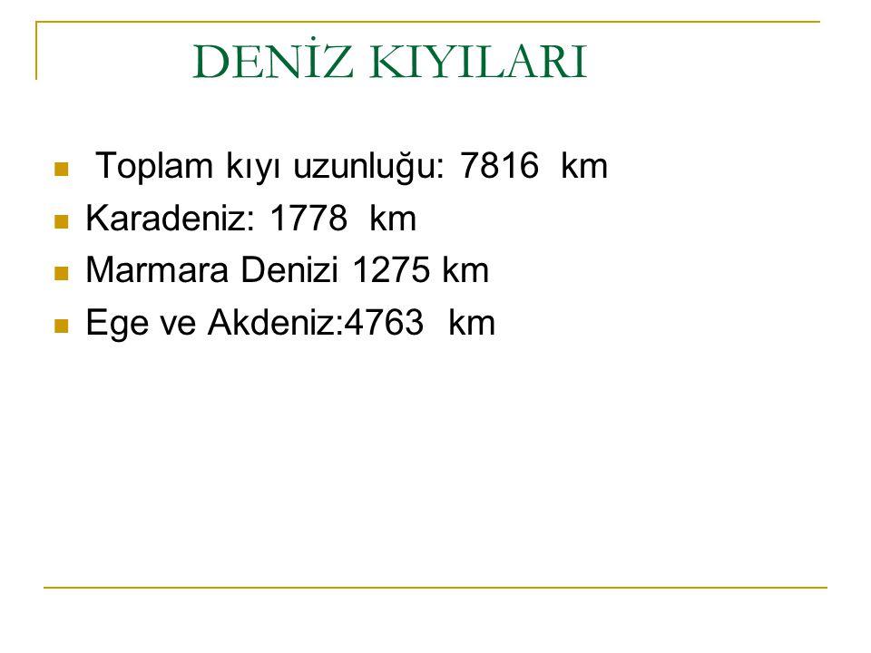DENİZ KIYILARI Toplam kıyı uzunluğu: 7816 km Karadeniz: 1778 km Marmara Denizi 1275 km Ege ve Akdeniz:4763 km
