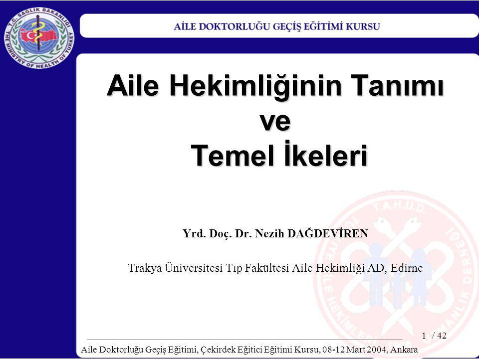 / 42 Aile Doktorluğu Geçiş Eğitimi, Çekirdek Eğitici Eğitimi Kursu, 08-12 Mart 2004, Ankara 22 Aile Hekimliğinin Temel Özellikleri Kişisel: –Birey merkezli