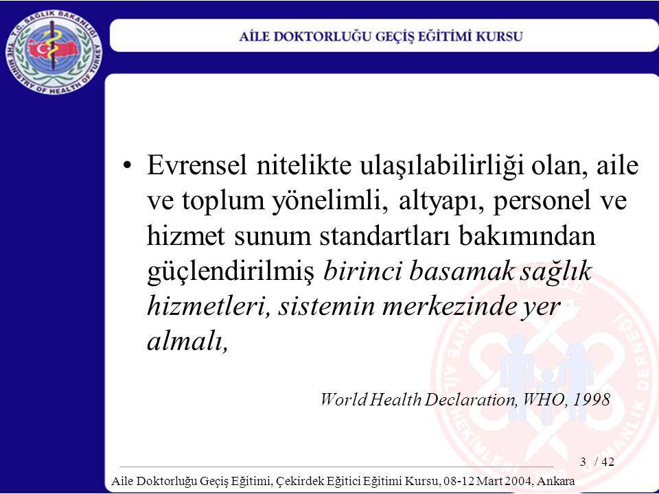 / 42 Aile Doktorluğu Geçiş Eğitimi, Çekirdek Eğitici Eğitimi Kursu, 08-12 Mart 2004, Ankara 4 Birinci basamak hizmetler, esnek, ihtiyaçlara yanıt veren bir hastane sistemi tarafından desteklenmeli World Health Declaration, WHO, 1998